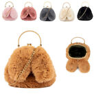 Girls Cute Faux Fur Bunny Ears Handbag Kiss Clasp Rabbit Handbag Christmas G06