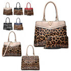 Ladies Designer Leopard V Handbag & Matching Purse Set Shoulder Bag MA36513