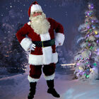USA Santa Claus Suit Christmas Adult Costumes Fancy Dress Deluxe Velvet Full Set