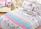 Home Sweet Pink Owl Print Pattern Reversible Quilt Set, Bedspread, Coverlet image