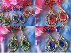 Betsey Johnson Pink Green Blue Crystal Rhinestones Drop Dangle Earring NEW image