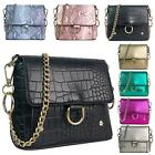New Glitter Finish Synthetic Leather Croc Snakeskin Ladies Party Shoulder Bag