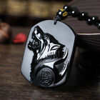 Men Black Obsidian Carving Yin Yang Wolf Dragon Phoenix Necklace Lucky Pendant