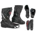 Boots Motorcycle Sport Racing Track Road Technical Microfiber Black