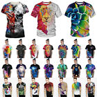 Couple Unisex Colorful 3D Graphic Print Top Fashion Short Sleeve T-Shirt Blouse image