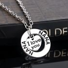 'I Love You' Silver Family Heart Necklace Pendant Christmas Gift Boho A143