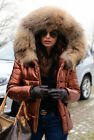 Womens Winter Warm Quilted Padded Parka Short Fur Collar Hooded Coat Jacket