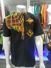 African clothing Men's black Polished Cotton Top dashiki kente. FREE SHIPPING