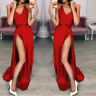 Womens Ladies Sexy V-Neck High Split Maxi Dress Evening Cocktail Party Dresses