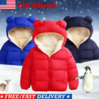 US Toddler Kid Baby Boy Girl Bear Hooded Coat Winter Thick Jacket Winter Outwear
