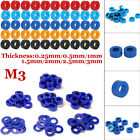 20pcs M3 Cnc Round Aluminum Alloy Flat Spacer Washer Screw Gasket Ring For Rc