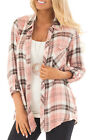 Women Casual Long Sleeve Plaid Button Down Shirts Blouse Flannel Tops