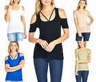Sexy Cold Shoulder Criss Cross Fitted Cute Summer Stretch Cutout Solid Shirt Top