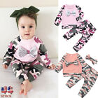 Newborn Toddler Baby Girls Boys Camouflage Bow Tops+Pants Outfits Sets Clothes