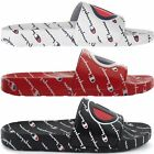 Champion Men's IPO Repeat Slide Sandals White Red Black Flip Flops Casual Shoes