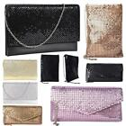 New Ladies Chainmail Faux Leather Chain Strap Wedding Clutch Bag Pouch