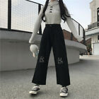 Harajuku Bear Embroidery High Waist Pant Women Wide Leg Trousers Casual Bottoms
