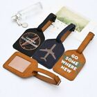 Luggage Label Suitcase Leather Id Tags Address Boarding Holder Travel Round Card