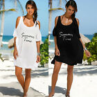 Plus Size Womens Cold Shoulder T-Shirt Dress Beachwear Bikini Cover Up Swimwear