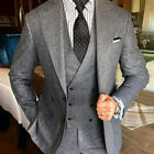 Grey Men Suit For Wedding Tweed Blazer Double Breasted Vested Lapel Tuxedos