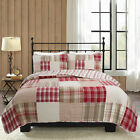 Alivia Red Brown Patchwork 100% Cotton Reversible Bedding Quilt Set, Coverlet image