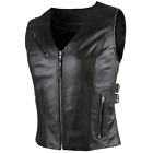 1037b Ladies Zip Up Leather Vest