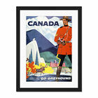 Travel+Transport+Bus+Coach+Mountie+Moose+Canada+Framed+Wall+Art+Print+18X24+In