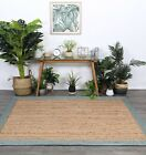 Hand Made Flatwoven Jute Blue Natural Solid Border Lorien Design Floor area Rugs