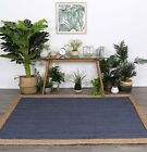 Hand Made Flatwoven Jute Navy Natural Solid Centre Lorien Design Floor area Rugs