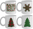 Making Spirits Bright Snowflake Christmas Pine Tree Plaid Coffee Mug Holiday