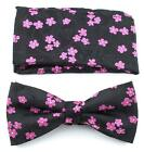 Bow Ties for Men - Pre-Tied Clip on Bow Tie with Matching Pocket Square Set