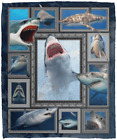 3D Shark Ocean Sofa Fleece Blanket Shark Lover Gift Printed in US