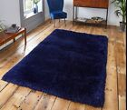 SMALL - LARGE SOFT CHUNKY THICK LONG PILE SHAGGY DARK CLASSIC NAVY BLUE RUG