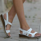 Womens Ankle Strap Sandals Ladies Summer Casual Comfy Wedge Cork Heel Shoes Size