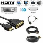 NEW HDMI to DVI-D 24 1 Pin Display Adapter Cable Male Gold HD HDTV 3 5 6 10 15ft