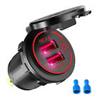 Car Cigarette Socket Charger 2USB QC3.0 Quick Charge Switch For Car Boat Marine