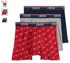 """Men's Izod 3-Pack Cotton Boxer Briefs 6"""" inseam with Fly (Navy - Red - Gray)"""