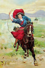 Cowgirl Roping Horseback Reproduction Fabric Crazy Quilt Block Free Shipping