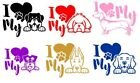 1 x I Love my Dog Car/Mirror/File Decal Stickers 6 Designs Available