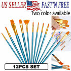 12Pcs Set Artist Paint Brushes Kit Watercolor Art Oil Painting Supplies Acrylic