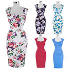 Dress Casual Wiggle Cocktail Pencil Retro Floral Housewife Vintage Party Gown #j