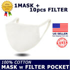 [Top-Rated] White Cotton Face Mask with Pocket + 10pcs Filter (Made in Korea)