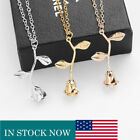 Women Necklace Beauty Rose Flower Pendant Rose Gold Silver Charm Necklace Gift image