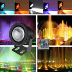 10W RGB LED Light Fountain Pool Pond Spotlight Underwater Waterproof + Remote UK