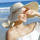 Kyпить US Women's Summer Bow Large Floppy Folding Wide Brim Cap Sun Straw Beach Hat New на еВаy.соm