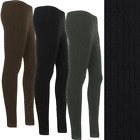 Ribbed Cable Knit Pattern Thick Chunky Stretch Soft Leggings Footless Size  W...