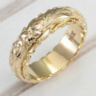 Handmade Women's 18K Gold Flower Ornament Rings Wedding Band Jewelry Size 5-11