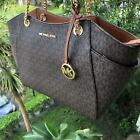 Michael Kors Women PVC Leather Shoulder Chain Tote Handbag Messenger Bag Purse image