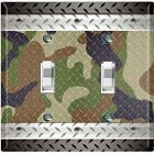 Metal Light Switch Cover Wall Plate Multi Camouflage Patten Crosshatch CAM003