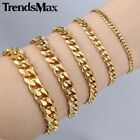 """3/5/7/9/11mm 14k Gold Plated Stainless Steel Curb Cuban Chain Bracelet Men 7-11"""""""